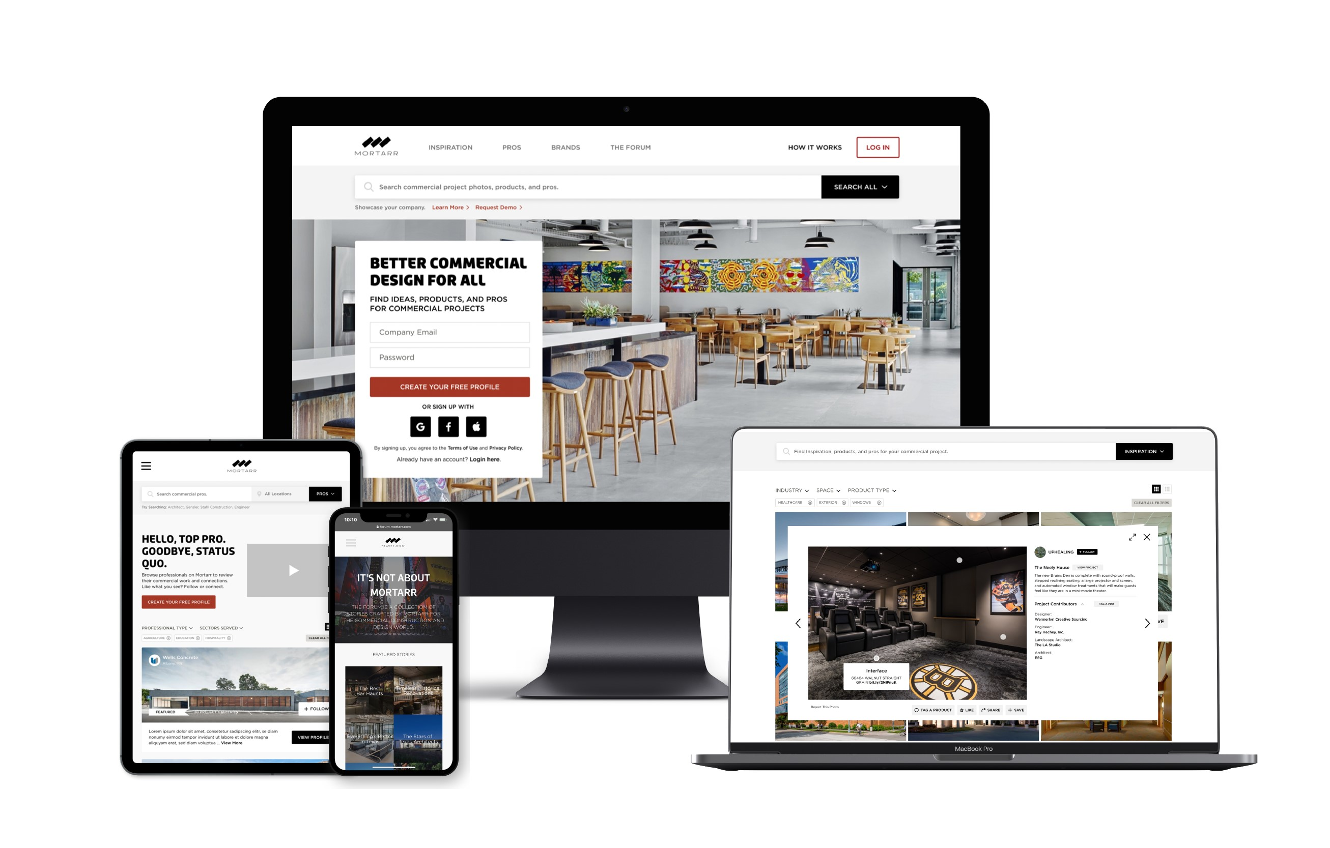 What is Mortarr? Mortarr is the online source for commercial project inspiration, products, and pros.