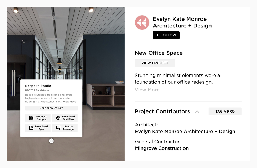 Use Mortarr's Pro & Brand tags to increase your marketing visibility. Mortarr tags help users access information and connections for the products or services used on commercial construction and interior design projects.
